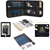 Professional Art Kit - Sketching & Drawing Set - Art Supplies – 33 - piece set with case – Pencils – Graphite – Charcoal – Erasers – Sharpeners