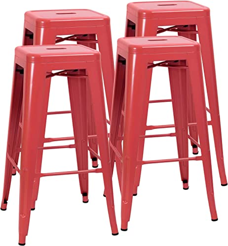 JUMMICO Metal Bar Stool Backless 30 Inches Stackable Barstools Indoor Outdoor Modern Industrial Bar Stools Set of 4 Red