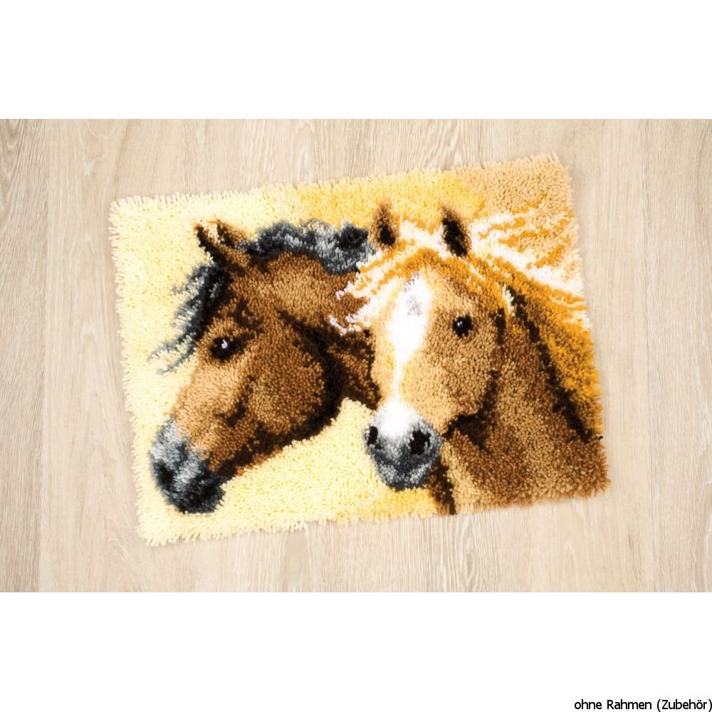 Vervaco PN-0144834 | Large Hole Canvas Horses 2 Rug Latch Hook Kit
