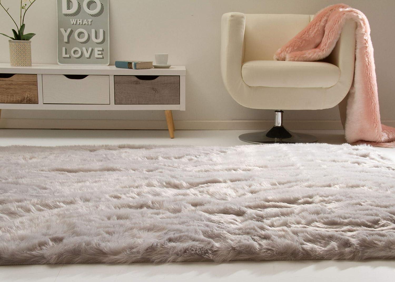 Hochflor Teppich Senja XL Fellimitat in Silber, Ökotex Zertifiziert, Größe  90x160 cm