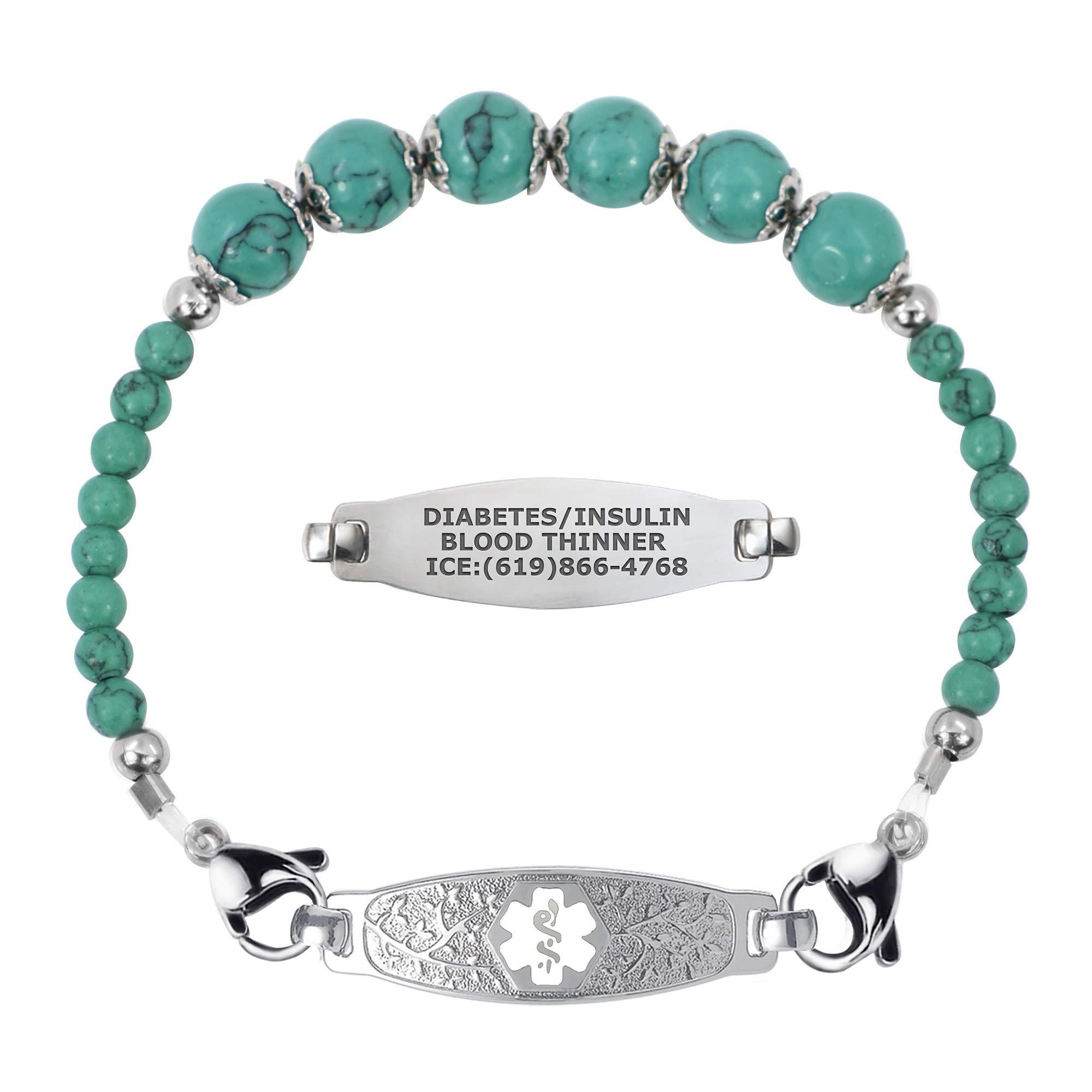 Divoti Custom Engraved Slip-on Medical Alert Bracelets for Women, Beaded Medical Bracelet, Stretch Medical Alert Bracelet Stainless Steel/Free Engraving-Olive Tag & Blue Turquoise Bead- White / 9'' by Divoti