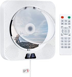 Upgraded Portable CD Player with Bluetooth, FM Radio,Wall Mountable CD Music Player Home Audio Boombox with Remote Control, Built-in HiFi Speakers, 3.5mm Headphone Jack AUX, Support CD/USB/TF