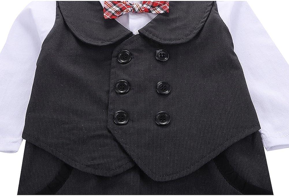 G-Kids Baby Jungen Strampler Smoking Gentleman Anzug Langarm Outfits Herbst-Fr/ühling Kleidung Jumpsuit Spielanzug Fliege Taufkleidung mit Hut
