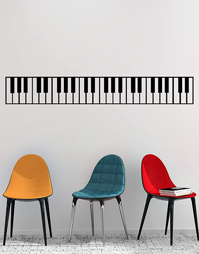 Stickerbrand Pegatinas de piano para pegatina de pared decoración de instrumentos musicales 10in X 72in (Negro) Negro