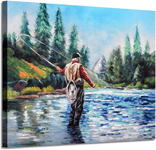 Lake Landscape Canvas Wall Art Fishing on The Clear Blue River Mountain Trees Picture Painting for Bedroom 24 x 18 x 1 Panel