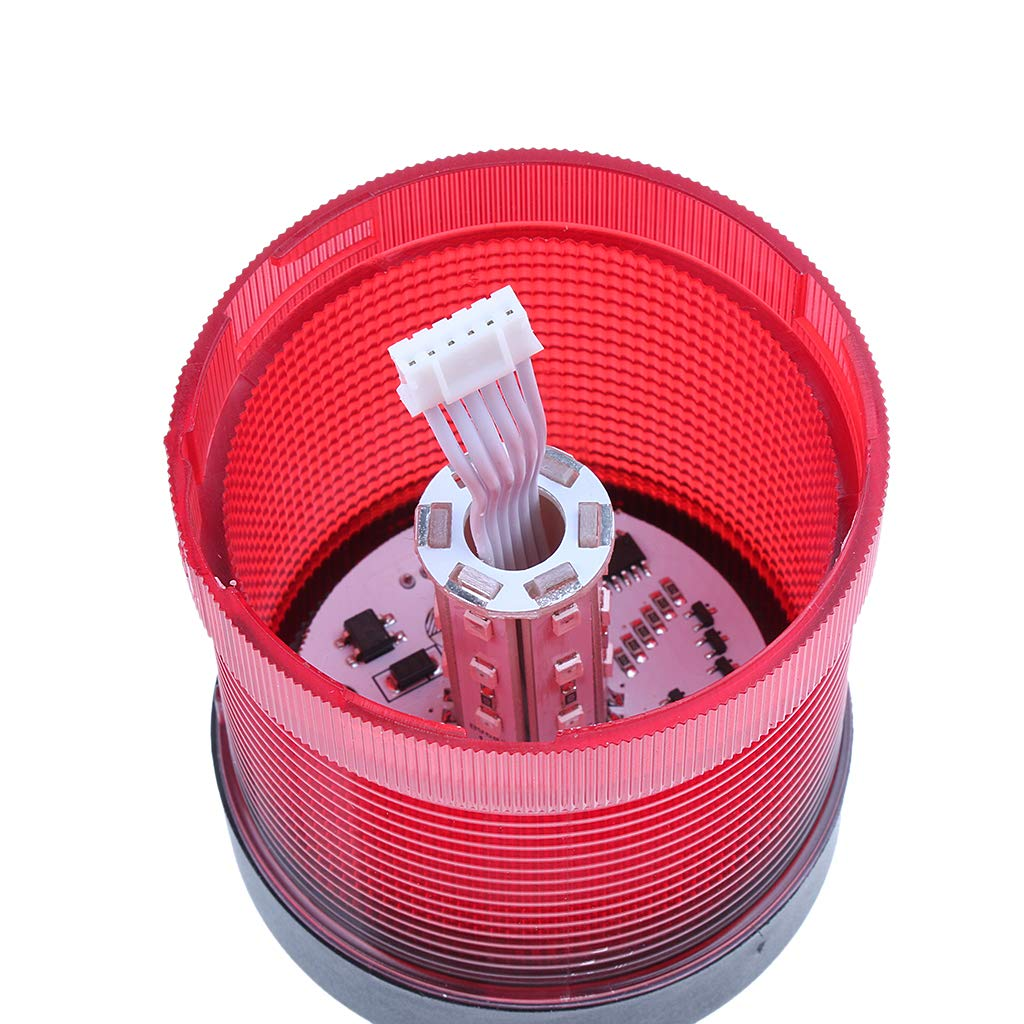 Homyl DC 24V Industrial Warning Light Round Alarm Signal Workshop Beacon Red, Four Light Modes stroboscopic/Rotating/Flashing/Permanent by Homyl (Image #5)