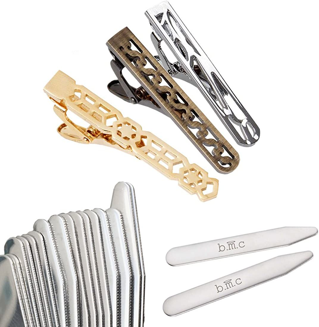 b.m.c BMC 3pc Mens Mix Design Stainless Steel Tie Bar Clips and 8pr Metal Collar Stays