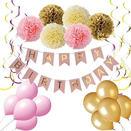 Birthday Decorations Pink And Gold Happy For Women Banner
