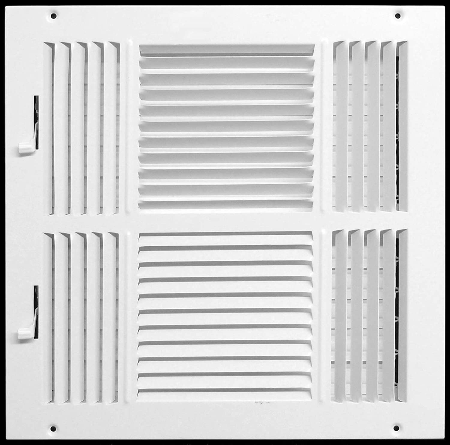 "14"" X 14"" 4-Way AIR Supply Grille - Vent Cover & Diffuser - Flat Stamped Face - White [Outer Dimensions: 15.75""w X 15.75""h]"