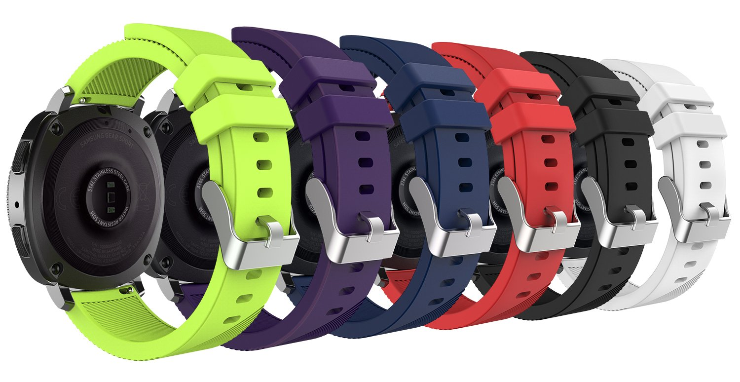 MoKo Gear Sport/Gear S2 Classic Watch Band, [6-PACK] 20mm Soft Silicone Strap for Samsung Gear Sport SM-R600 / Gear S2 Classic Smartwatch, Not Fit Samsung Gear S2 Watch - Multi Colors
