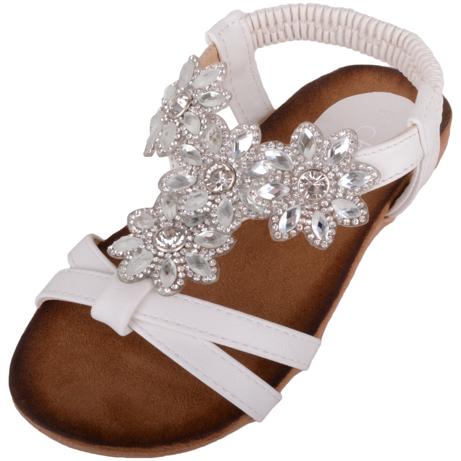 1cf4b4de673 Absolute Footwear Childrens Kids Girls Summer Holiday Sandals Shoes with  Floral Diamonte