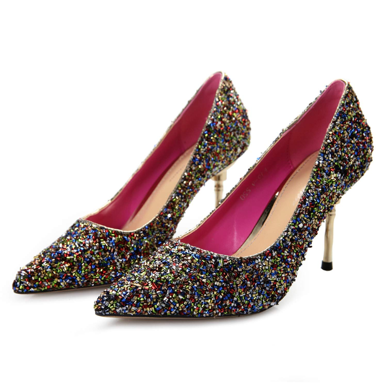 LBTSQ-Mode Mode Pailletten Frische Hochhackige Schuhe spitz spitz spitz sexy schlank und schmal Einzelne Schuhe 8cm 4b7aa9