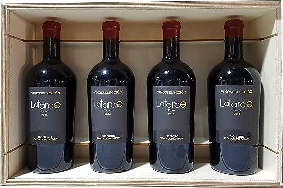 Caja Madera 4 Botellas Vino Latarce Selección 2014 | Vino Tinto D.O Toro | Vino Latarce | Ideal para Regalo | Productos Gourmet | Vino Delicatessen | Vino Selección | Vino Toro: Amazon.es: Alimentación y bebidas