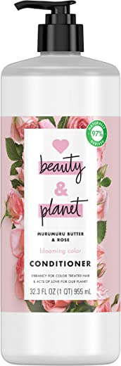 Love Beauty And Planet Blooming Color Hair Conditioner for Color Treated Hair Murumuru Butter & Rose Paraben Free, Silicone Free and Vegan Hair Care 32.3 oz