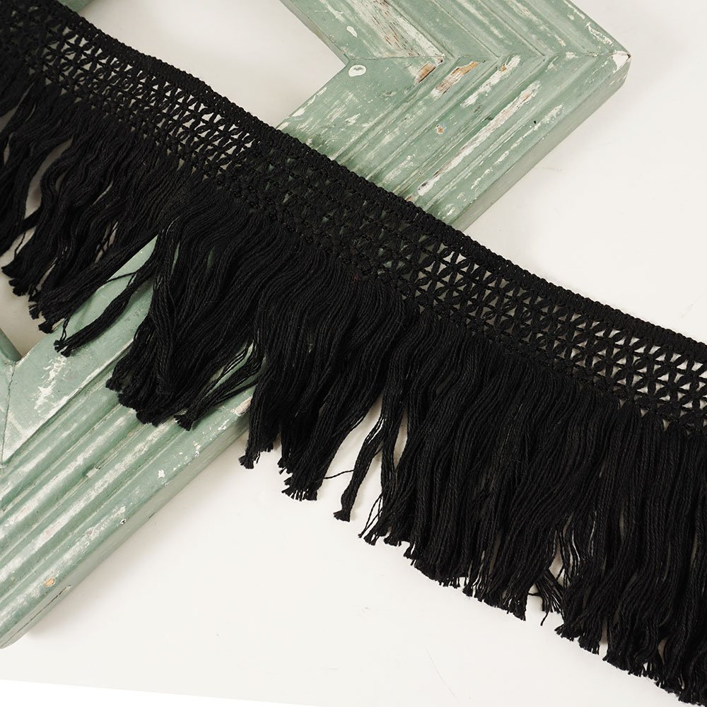 4 Vintage Knotted Cotton Fringe by 1 Yard STEP-1019 Navy