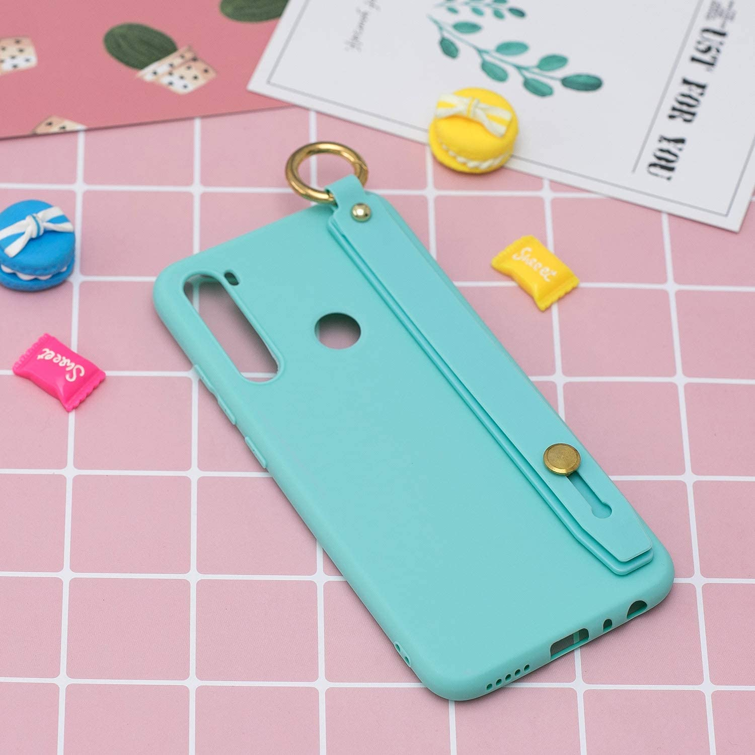 Metermall New for For Redmi 8/8A/Note 8T Mobile Phone Cover Matte TPU Shell with Wrist Rope All-round Protection Case Anti-scratch Shockproof 10 beans green Redmi 8 8 light blue,Redmi NOTE 8T