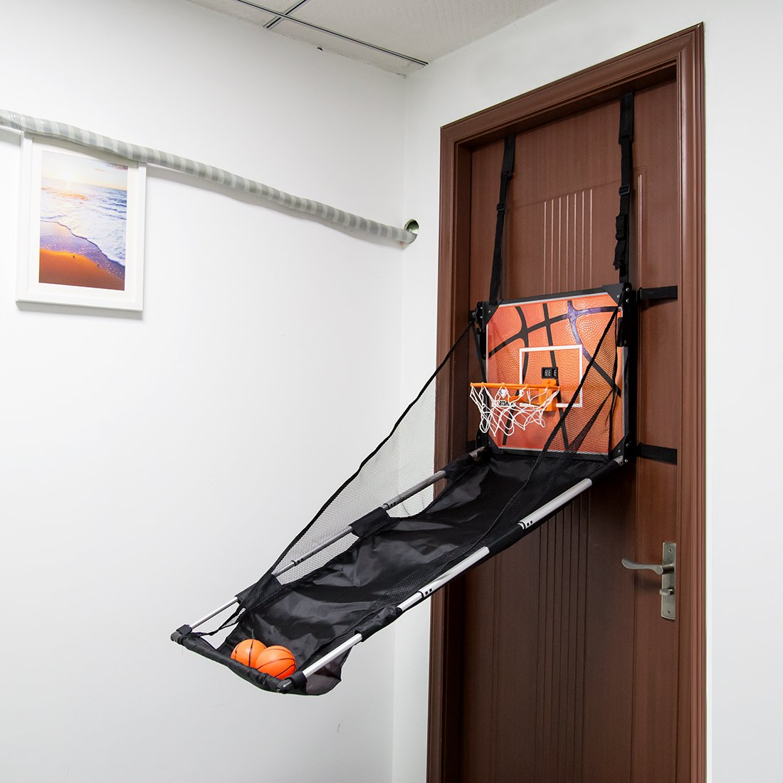 Basketball Shooting Machine PINCHUANGHUI Door Hanging Automatic Scoring Basketball Shooting Machine Foldable Shooting Hoop - Main Black by PINCHUANGHUI (Image #6)