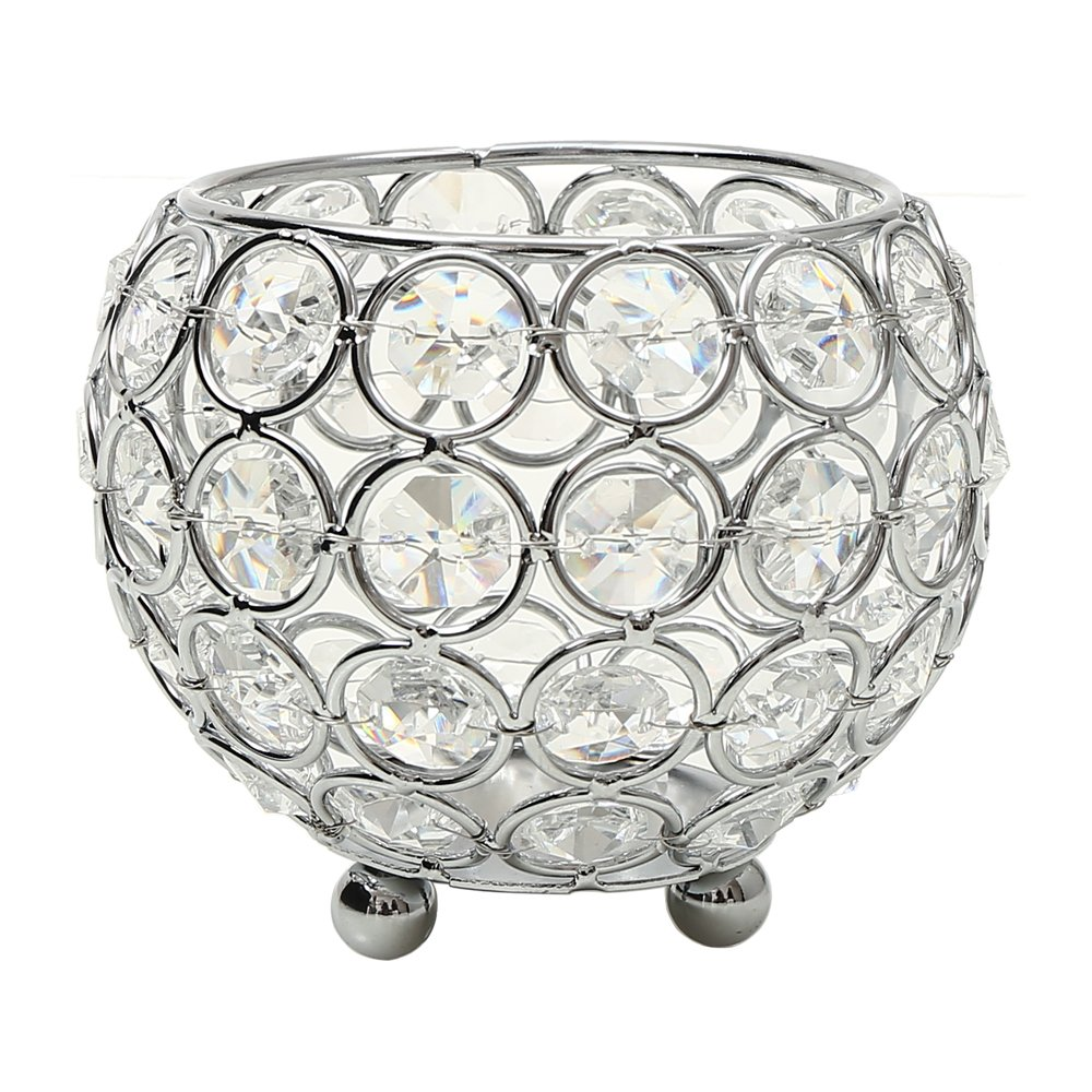 VINCIGANT Crystal Tea Light Candle Holders/Modern Candle Shade/Lantern for Anniversary Celebration/Office Table Decorations/Wedding Coffee Table Decorative Centerpiece (Silver)