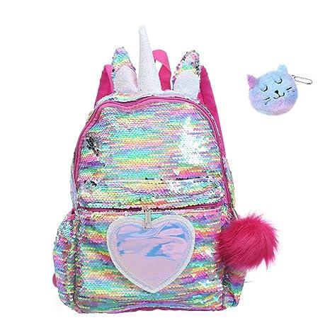 Waterproof Sequin Unicorn Backpack SchoolBag Rucksack Satchel Christmas
