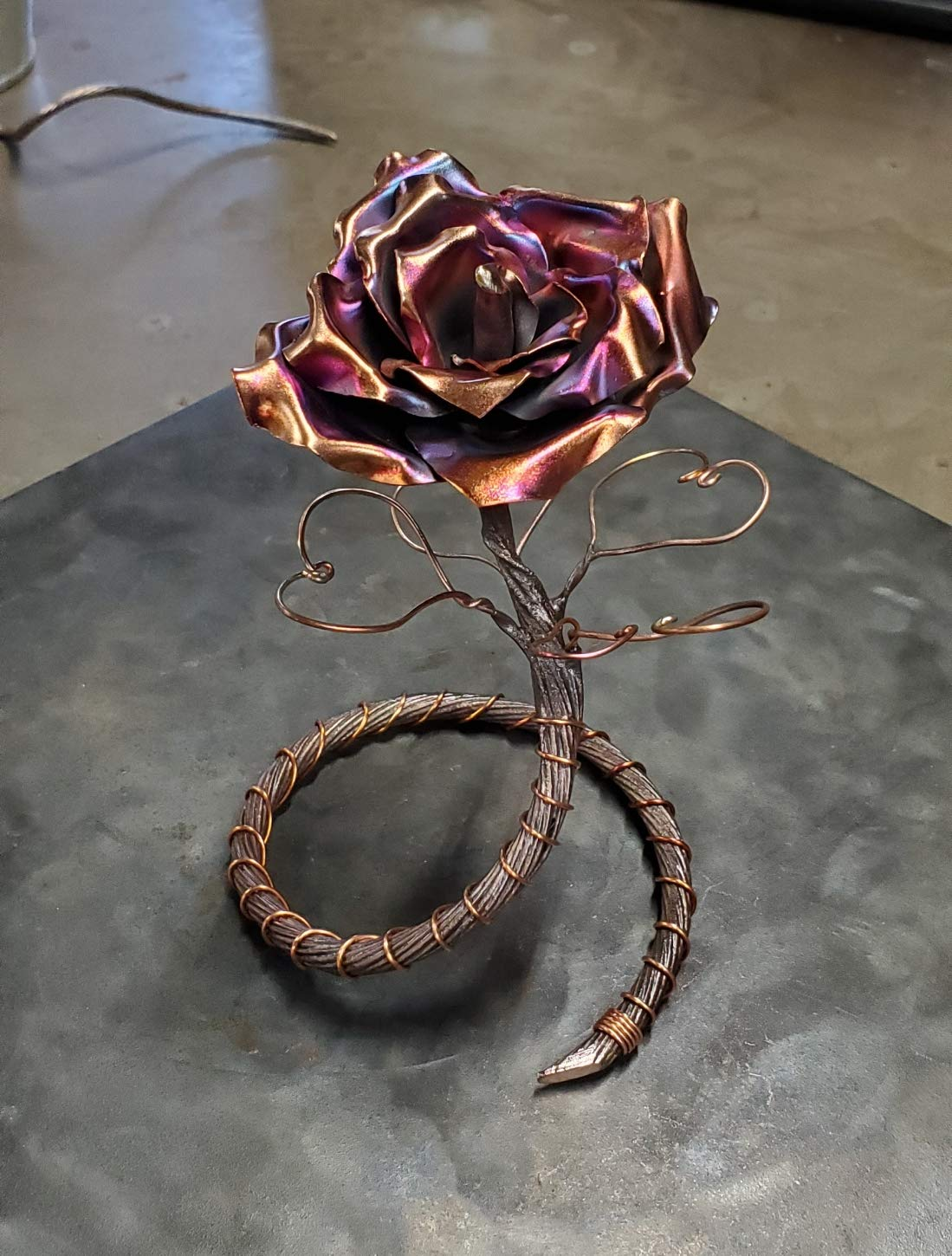 Antique Copper Rose Be Mine 1383e – Steampunk Industrial ready for Your Anniversary Wedding Birthday Valentine s Mother s Day Christmas Gift