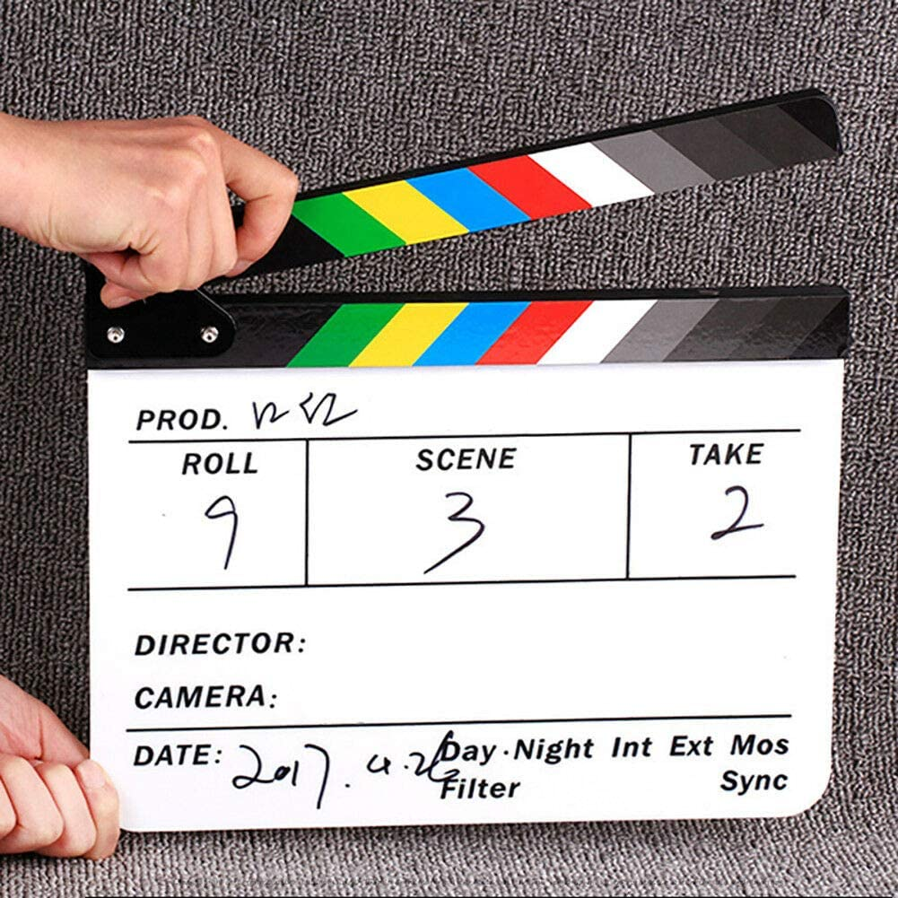 MeterMall Electronics Movie TV Slate Cut Action Scene Clapper Board Film Clapboard Photography Props