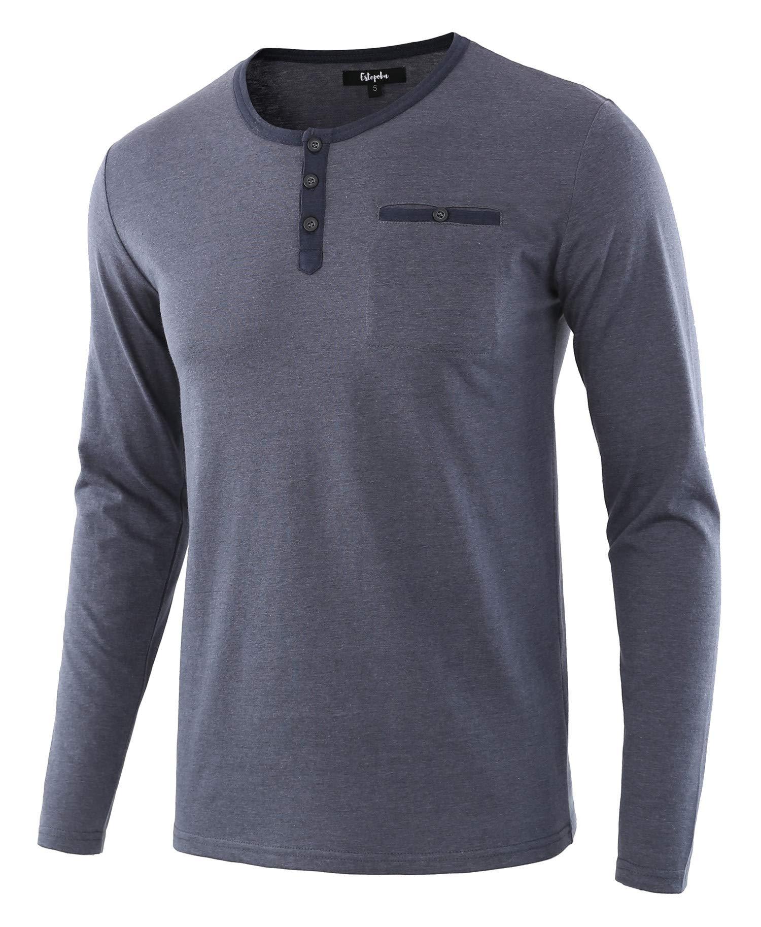 Estepoba Men's Casual Regular Fit Basic Long Sleeve Jersey Henley Pocket T-Shirt Cadet Blue/Navy XL