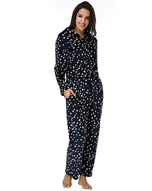 Auxo Mono Pijama Mujer Invierno Espesamiento Sleepwear Capucha Impreso Grueso Mangas Larga Dormir Traje Casual Azul