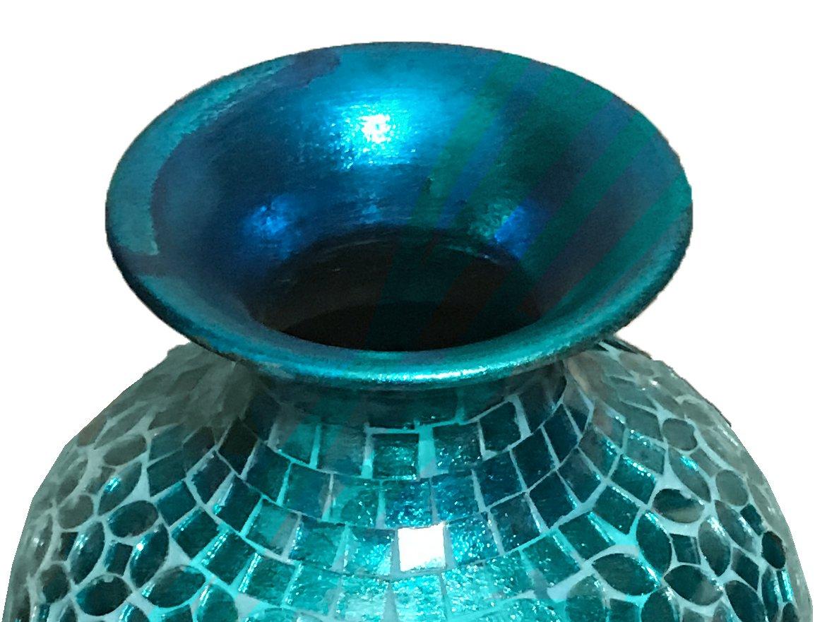 DecorShore Andalusian Vase -Sparkling Metal Vase with Moorish Floral Pattern Glass Mosaic Inlay, 20 in. Decorative Vase, Designer Vase (Turquoise)