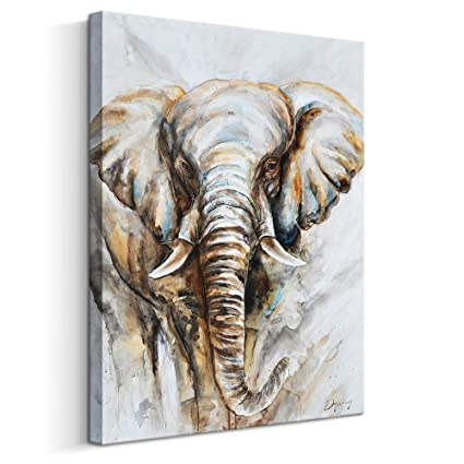 Abstract Elephant Wall Art Animal Oil Painting On Canvas Print Contemporary Wall Decor For Livingroom 24 X 32 Inch Framed