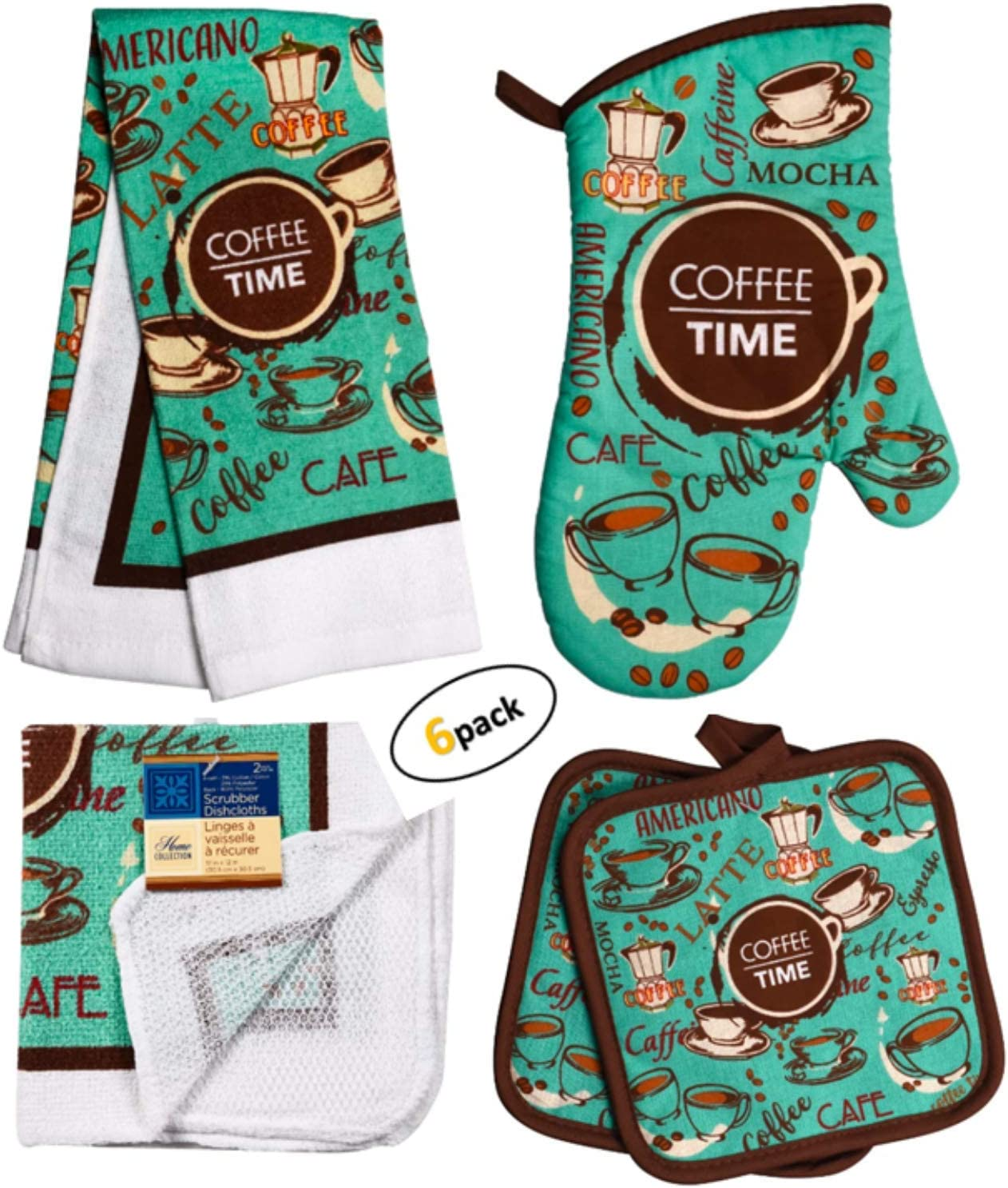 Coffee Decor - Towel Linen Set (6 Pc) Coffee Time Americano Cafe Themed - Kitchen Towel 2 Potholders 2 Scrubber Dishcloths 1 Oven Mitt - Oven Mitts - Kitchen Decor