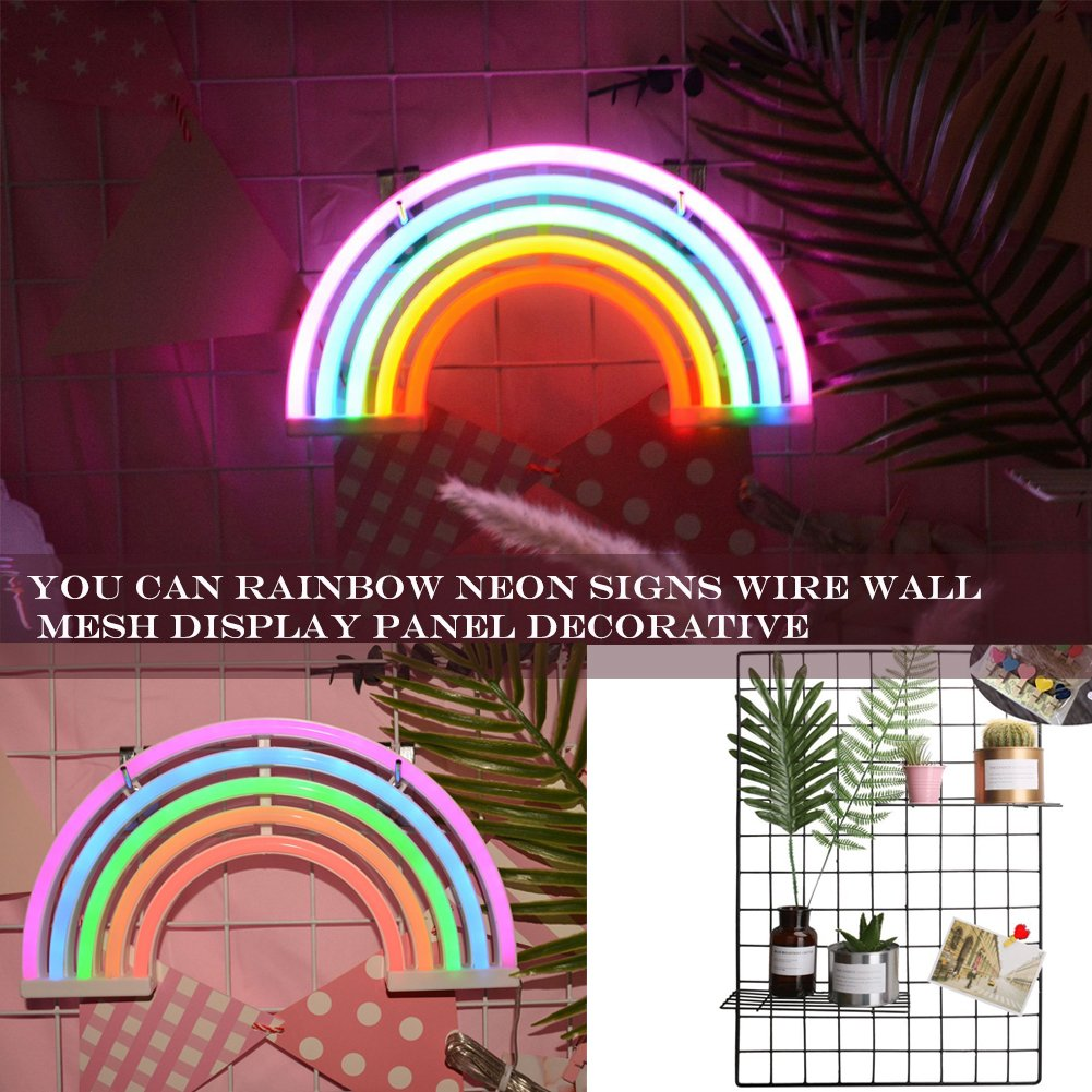 AIZESI 2PCS Rainbow Neon Light Sign,Neon Table Lamps,Marquee Battery Or USB Operated Table Led Ligths Wall Decoration for Girls Bedroom,Living Room,ChristmasParty as Kids Gift (Rainbow) by AIZESI (Image #5)