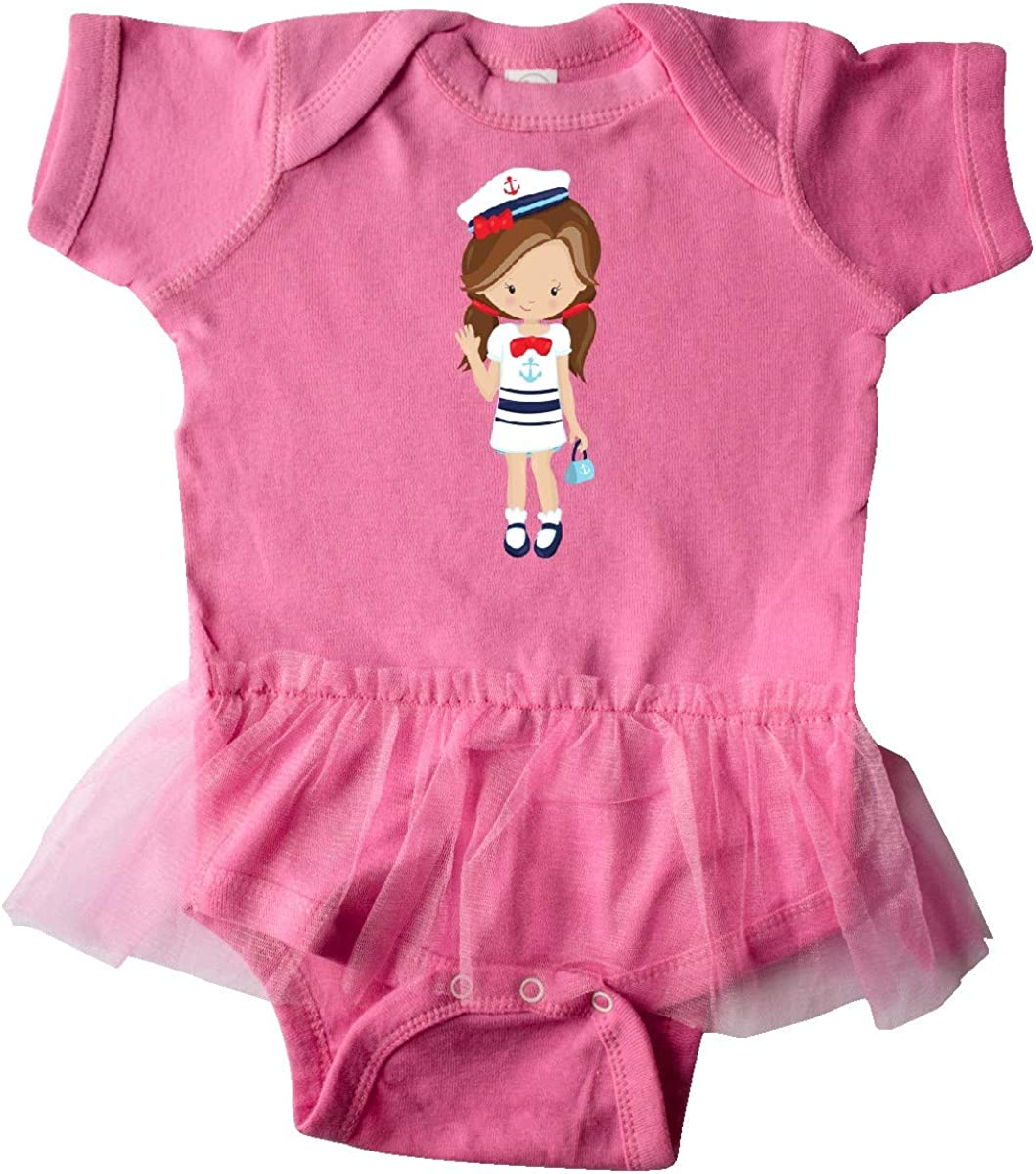 Skipper Boat Captain inktastic Cute Girl Brown Hair Infant Tutu Bodysuit