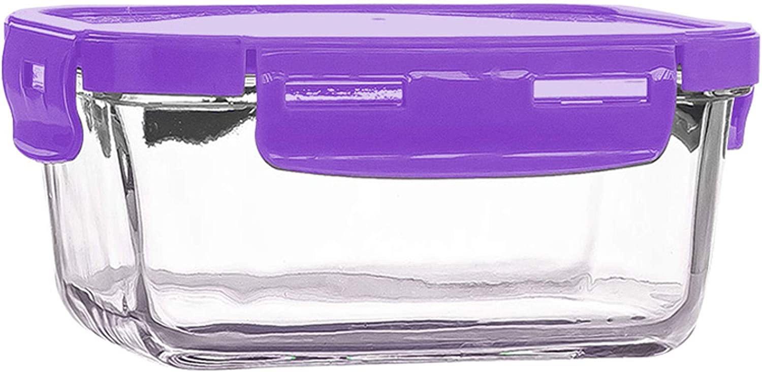 A glass meal preparation container that can be placed in a glass lunch box in the refrigerator to store food, and a lunch box with a lid. Height: 7.5cm/2.95in, width: 18.1cm/7.12in. Purple.