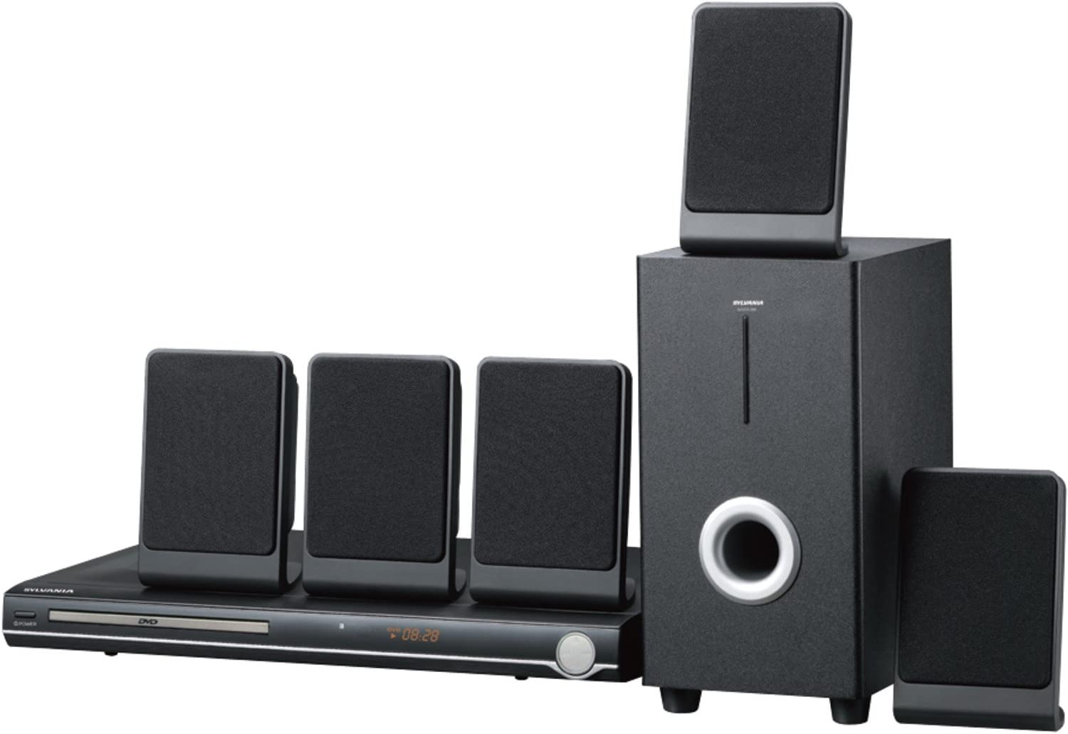 Sylvania Curtis 5.1 Channel Progressive Scan DVD Mini Bookshelf Home Theater Speaker System w/Subwoofer & Remote Control