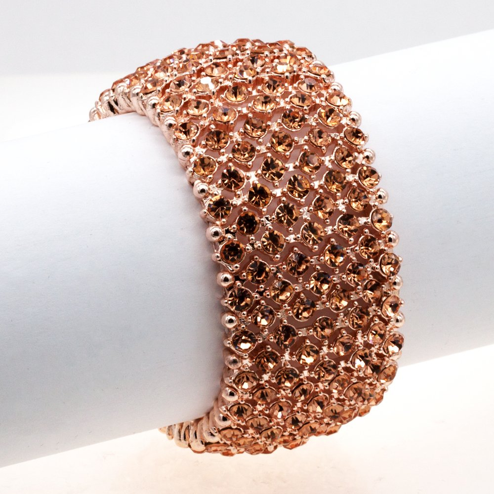 Lavencious Tennis Rhinestone Stretch Bracelets Bridal Evening Party Jewelry For Woman Bangle (Rose Gold) by Lavencious (Image #2)