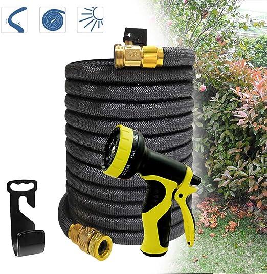 Froadp Flexible Látex Manguera de jardín con Boquilla de Agua con 9 Modos de Pulverización para Riego y Lavado de Muebles(22, 5m, Negro): Amazon.es: Jardín