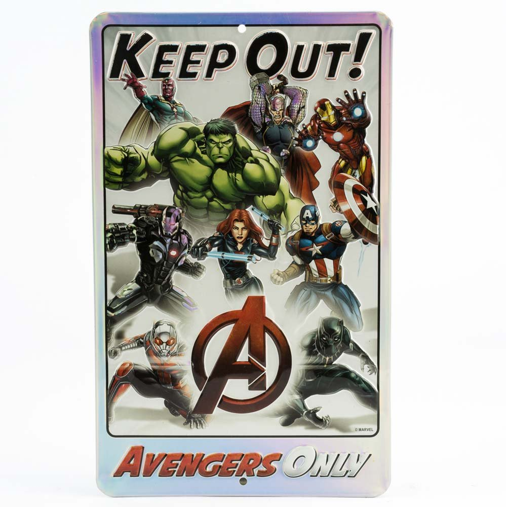Open Road Brands Marvel Comic Avengers Keep Out Sign Tin Metal Wall Art - an Officially Licensed Product Great Addition to Add What You Love to Your Home/Garage Decor