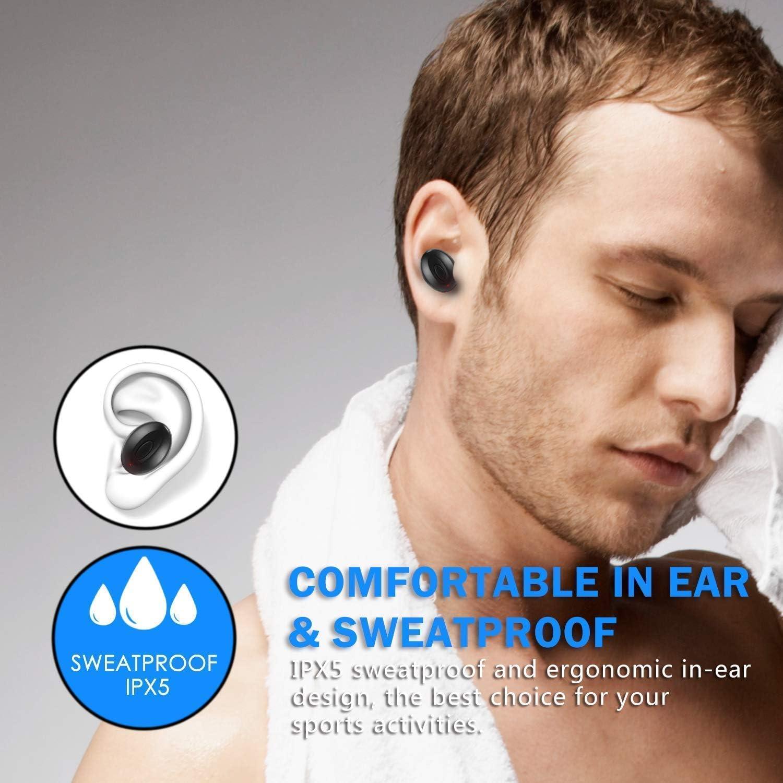 Mini Auriculares Bluetooth internos de 15 Horas para Android iOS # F79 2020 Auriculares inal/ámbricos Bluetooth con cancelaci/ón de Ruido