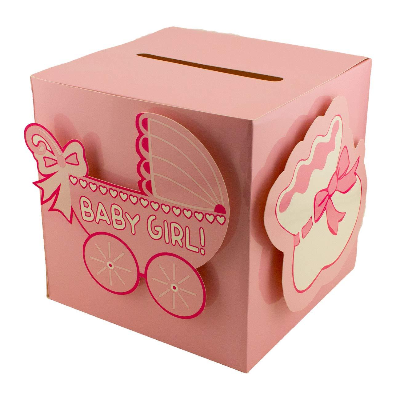 Tytroy Baby Shower Wishing Well Card Box Cute Decoration Rattle Pretty Keepsake Carriage (Blue)