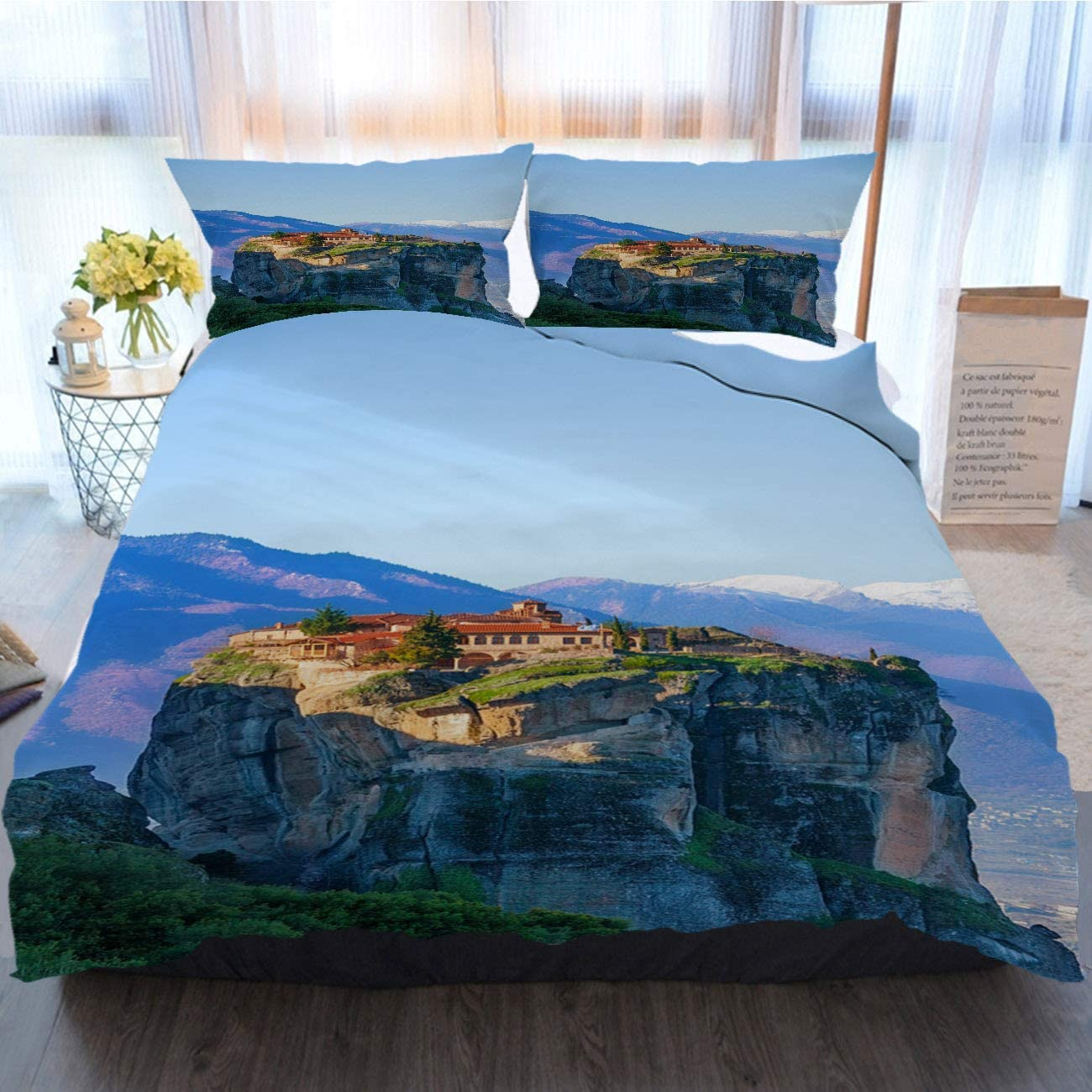 OTTOSUN Christmas Bedding 3 Piece Duvet Cover Sets View On The Monastery of Holy Greece Home Luxury Soft Duvet Comforter Cover,Queen