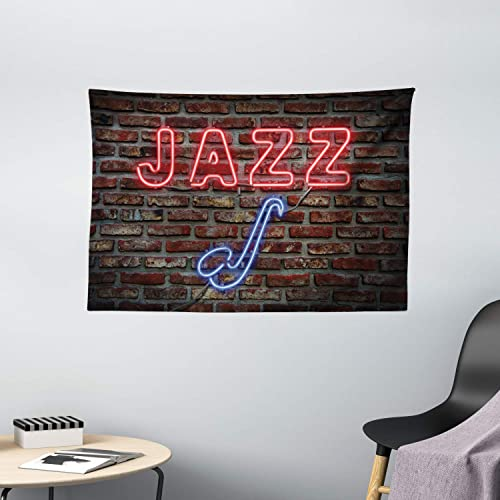 Ambesonne Music Tapestry, Image of Alluring Neon All Jazz Sign with Saxophone Instrument on Brick Wall Print, Wide Wall Hanging for Bedroom Living Room Dorm, 60 X 40 , Red Blue