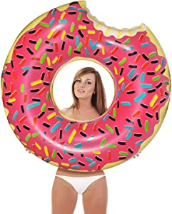 Inflatables Giant Pool Float Donut - Strawberry