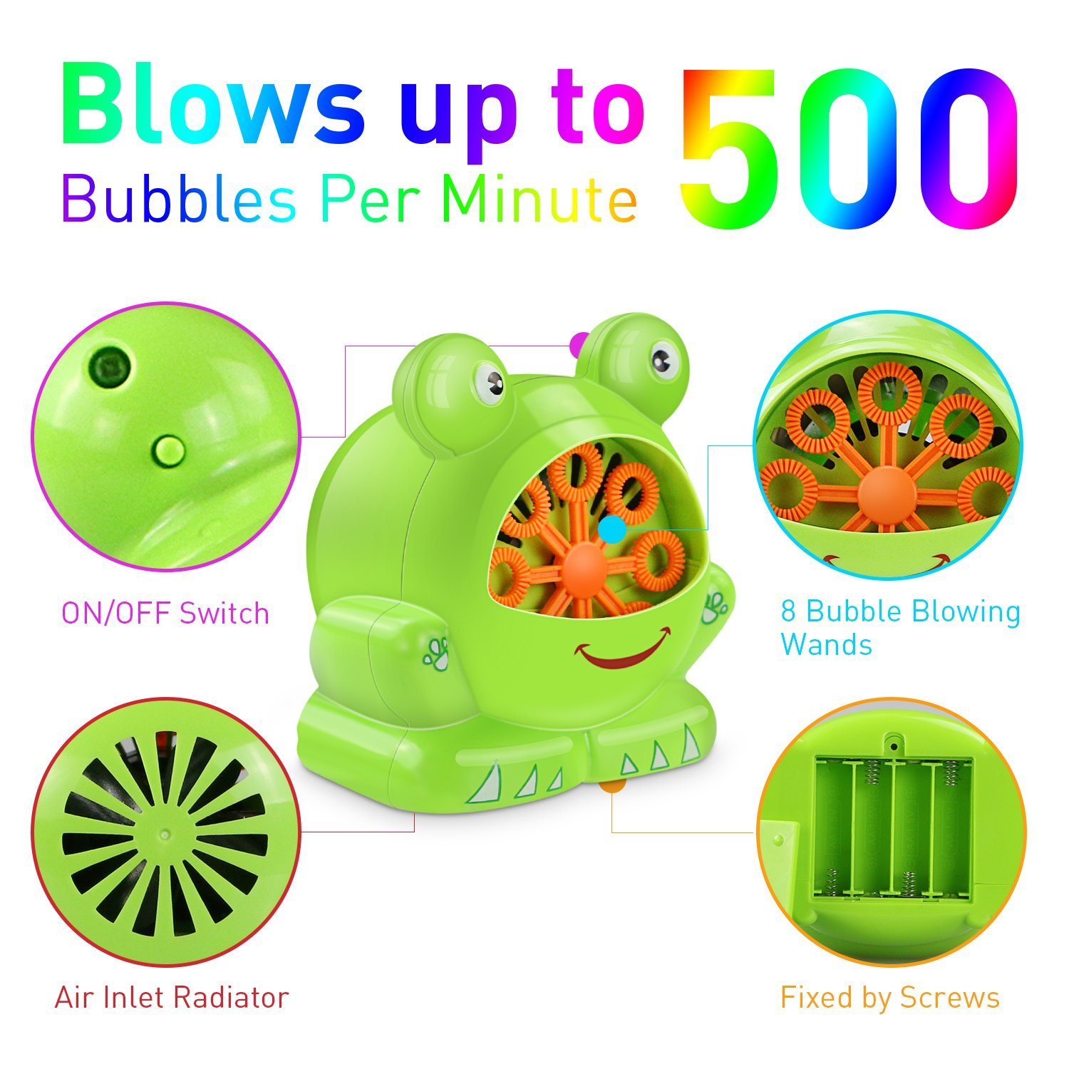 Renfox Bubble Machine, Automatic Frog Bubble Maker 500 Bubbles Per Minute, Kids Toys Bubble Blower Great Boys Girls Kids Birthday Gift Party Wedding