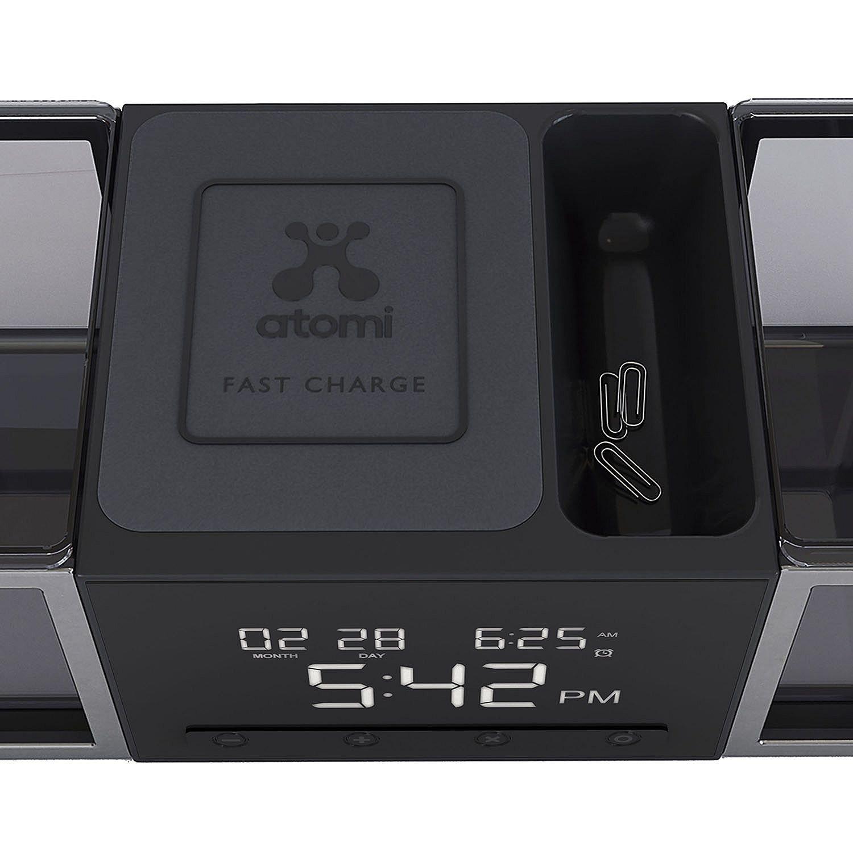 Amazon.com: Atomi Exec Connect Desk Organizer and Alarm Clock, Black: Home & Kitchen