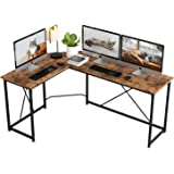 IRONCK L-Shaped Computer Corner Desk, Industrial L-Shaped Writing Workstation, Gaming Desk for Home Office, Space-Saving, Easy to Assemble, Rustic Brown