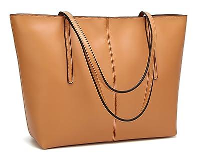 93e3608fe8 Obosoyo Women s Handbag Genuine Leather Tote Shoulder Bags Soft Hot Apricot