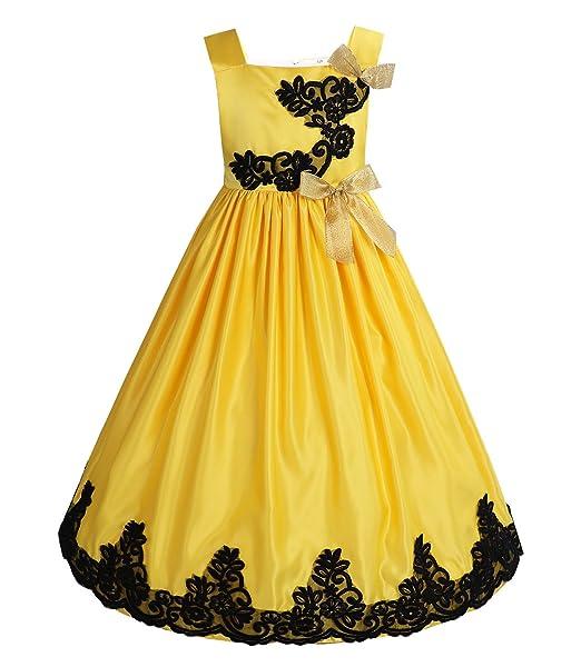YIZYIF Vestido Niña Ceremonia Largo Elegante de Princesa Vestido Rojo con flores de fiesta para boda