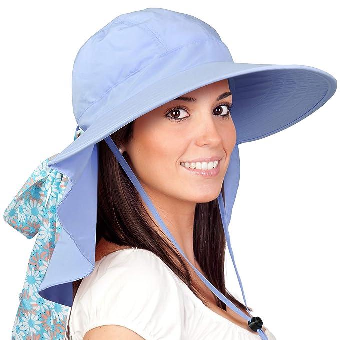 c9b2dd500c1e4 Womens Sun Hats Neck Flap Large Brim UV Protection Foldable Fishing Hiking  Cap Blue