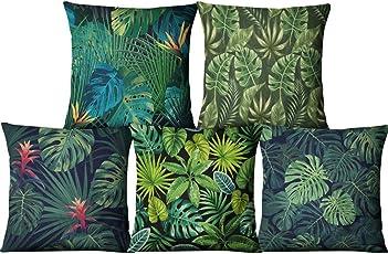Cojines decorativos, KINIFE 5Pcs Algodón de Lino Funda de Cojín 45cmX45cm para Sofá Cama(1 Set)