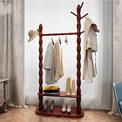 Amazon.com: LIANGJUN Floor Standing Wooden Coat Hat Rack ...